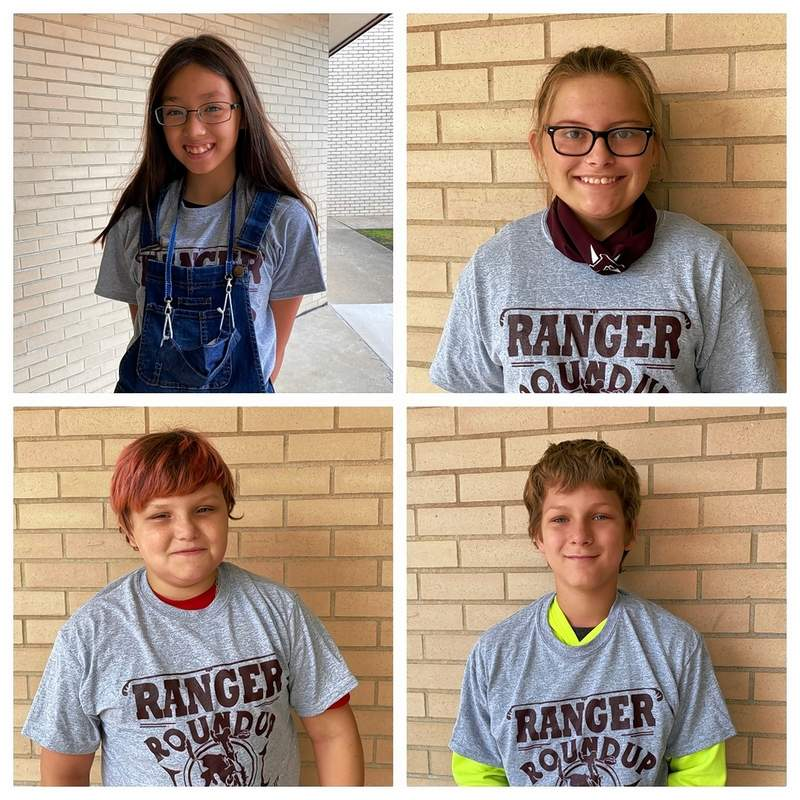 The latest round of Benton Grade SchoolRangerRound Up winners are Jada Ankrom, fifth grade; Taylor Ray,sixth grade; Michael Willis, seventh grade; and Alex Jones, eighth grade. RangerRound Up is a program to recognize students who show good character and exemplary behaviors.Each month, one student from each grade is chosen to be theRangerRound Up Winner of the month.These students receive a free t-shirt courtesy of Positive Impression, their picture in thenewspaper, and bragging rights at BGS.