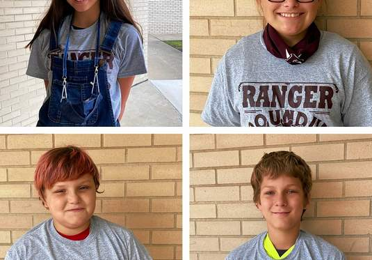 The latest round of Benton Grade School Ranger Round Up winners are Jada Ankrom, fifth grade; Taylor Ray, sixth grade; Michael Willis, seventh grade; and Alex Jones, eighth grade. Ranger Round Up is a program to recognize students who show good character and exemplary behaviors. Each month, one student from each grade is chosen to be the Ranger Round Up Winner of the month. These students receive a free t-shirt courtesy of Positive Impression, their picture in the newspaper, and bragging rights at BGS.