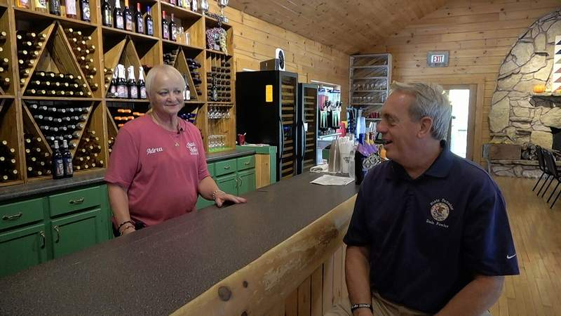 Pheasant Hollow Winery owner Andrea Pontious discusses the new wines with Sen. Dale Fowler.