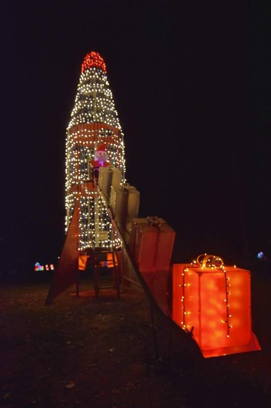 The 'rocket' in the Ridgway Park has been transformed into Santa's rocket for delivering gifts.