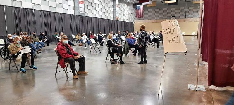 Franklin-Williamson Bi-County Health Department vaccination clinics, like this one held last month at The Pavilion in Marion, are continuing as scheduled this week.