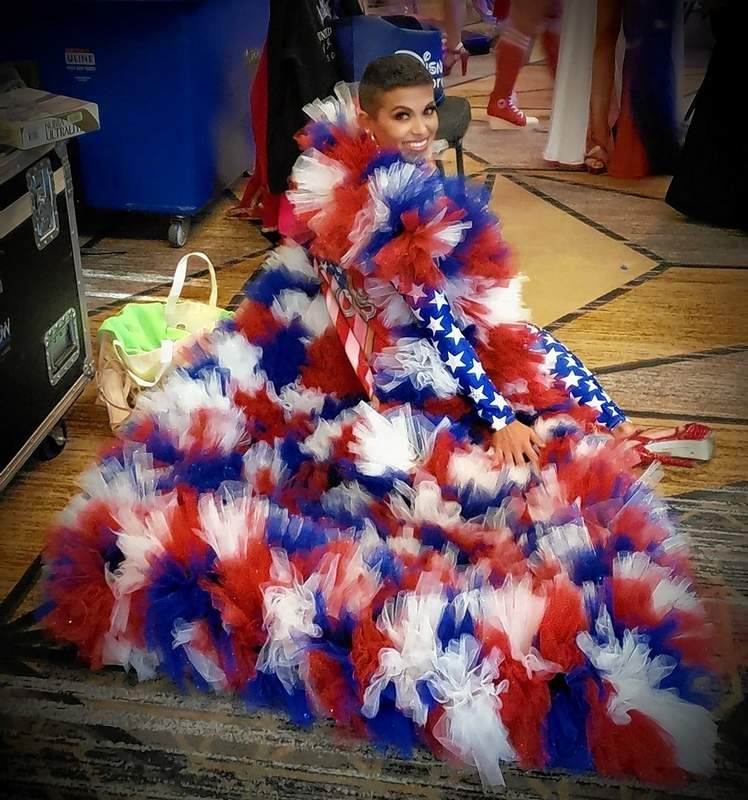 "Rachel's patriotic wear for the pageant was this incredible cape. ""I was so excited to make the finals,"" she said. ""That was my goal."""