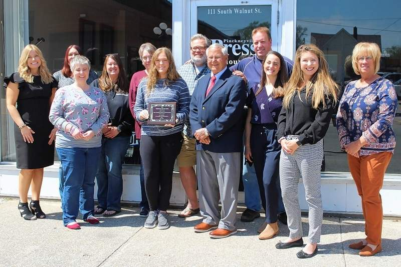 Outside the Weekly-Press office in Pinckneyville, from left, Du Quoin Chamber Executive Director Abigail Hammonds, Press-Weekly staff members Amanda Holmes, Amanda Morgenstern, Stephanie Waller, Pat Bathon, Emily Shanklin, Jeff Egbert, Jerry Reppert, Pete Spitler, Du Quoin Chamber President Abby Ancell and Du Quoin Chamber Board Members Jessica Holder and Janet Wolfe. See more photos on page 7.