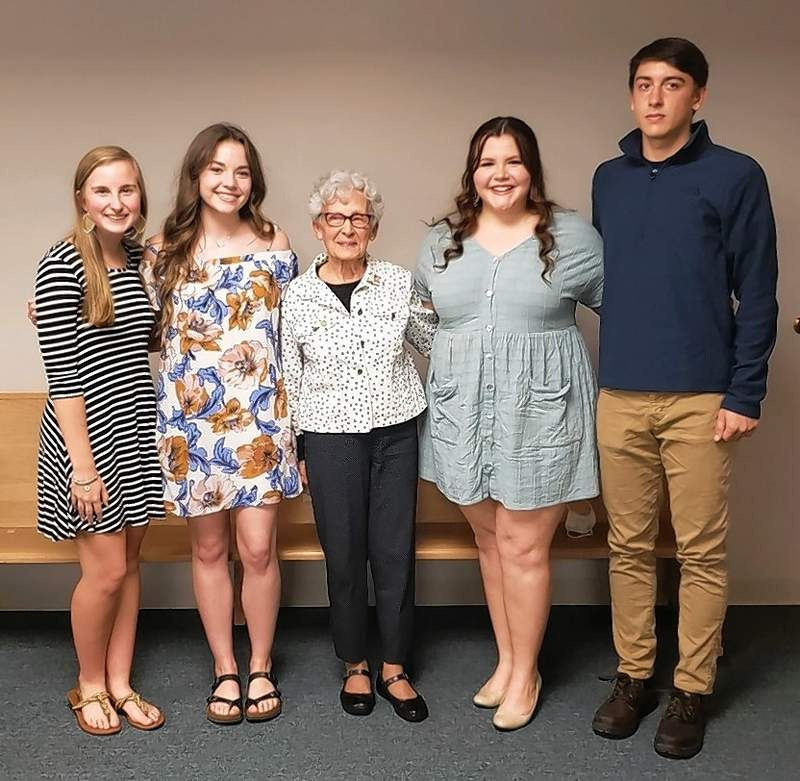 Winners stand with Mary Jo Novak, the Good Citizen Awards chairwoman. From left, students are Amy Koch, Audrey Gulley, Addison Carver and Benjamin Restoff.