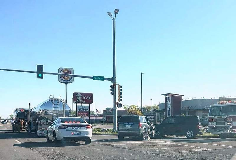 Three vehicles were involved in a Monday morning wreck at the intersection of East Sloan Street and U.S. 45 in Harrisburg.