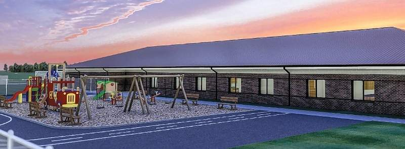 An artist's rendering of the playground side of the soon-to-be constructed Bulldog Early Learning Environment.