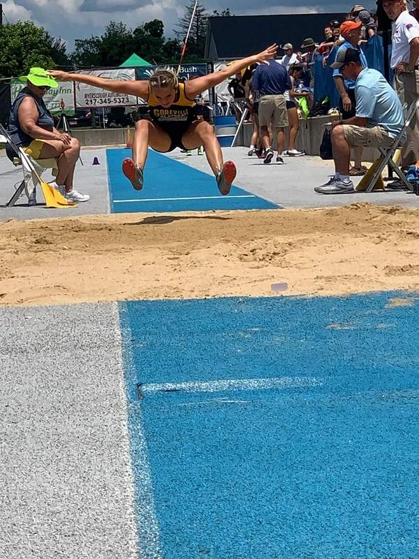 Goreville sophomore Maci Tosh competed in the IHSA state long jump prelims on Thursday on the campus of Eastern Illinois University at Charleston. Tosh's best jump of the day was 4.77 meters.