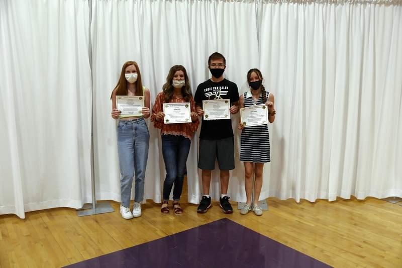 Layna Odum, Kaylee Smith, Devyn Valdez, and Lizzie Bristow Freshmen Students of the Year Award winners.