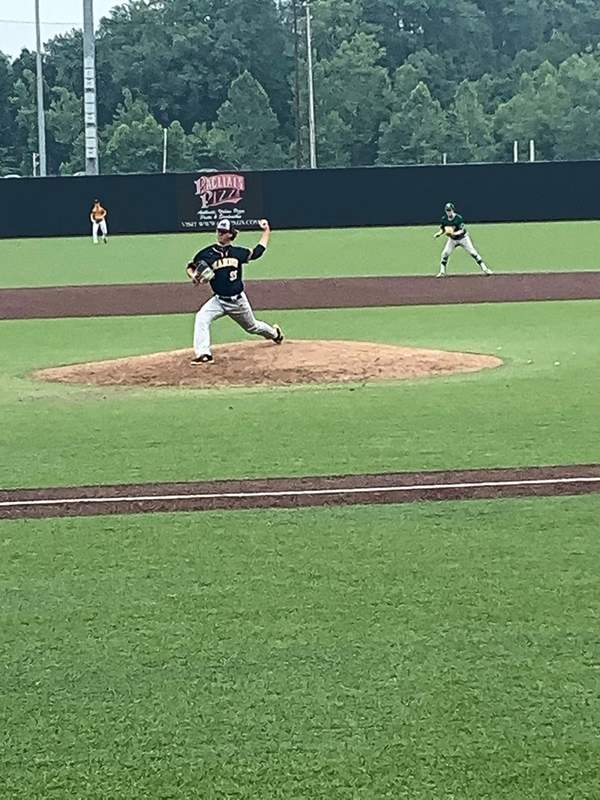 Marion's Karsten Stotlar took his turn on the mound Saturday during the SIBCA All-Star underclass game.