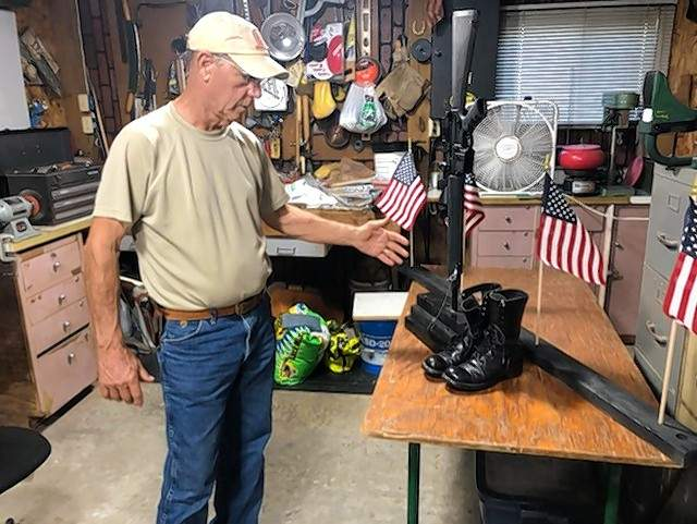 Wendell Stritzel is building a float to honor the 13 American service members killed in a suicide attack in Kabul, Afghanistan, last month.