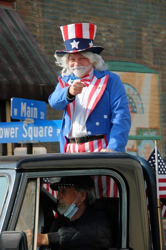 VA volunteer Rob Hagn, in his role as 'Uncle Sam' is a familiar face each year for the Veterans on Parade event.