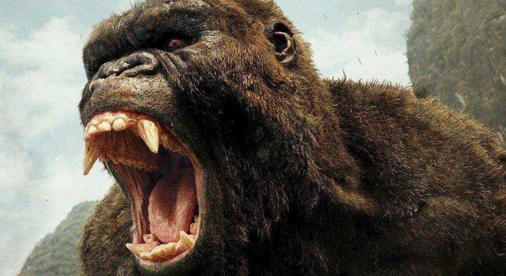 "An angry giant gorilla awaits U.S. soldiers in the old-fashioned monster movie ""Kong: Skull Island."""